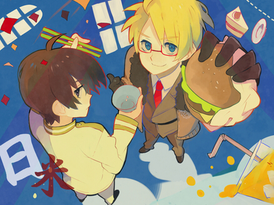America with hamburgers, and Jepun with rice~