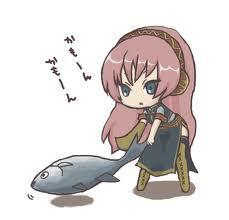 Megurine Luka with her Tuna