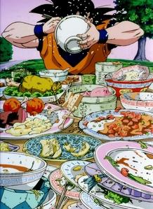 Goku does NOT have a kegemaran food. XD