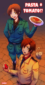 Ok Italy with pasta and Romano with a tomato, sos tomato :D
