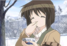<b>Shiori-chan from Kanon eating ice cream!..well it's ice cream in a cup,I hope it still counts.</b>