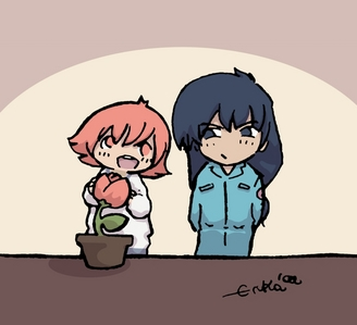 How about this? Hayate and Himeno from Pretear! ...the joke is that, much to Himeno's distaste, Hayate's nickname for her is tulip-head.