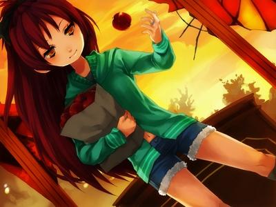 Kyoko Sakura loves apples, but she also loves pocky and taiyaki.