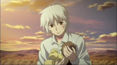 sion holding his and nezumi's baby