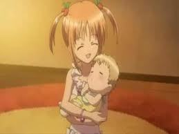 Yaya holding her baby brother from Shugo Chara..