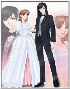 Yumi in a dress and Sachiko in a tux :3 Sachiko looks so dashing and Yumi is so pretty-fulz <3