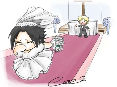 No Sasuke! Don't run away from Naruto on your wedding day!! xDDDD (chibi makes it cuter, yeah? :3)