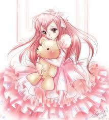 cute 日本动漫 girl with teddy 熊
