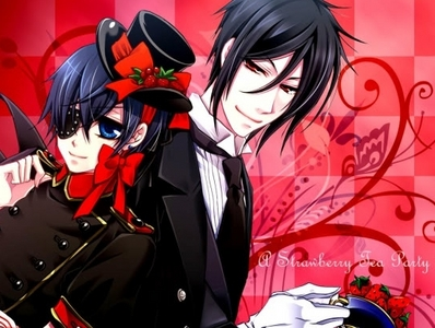 Ooh!,well here is a picture of Ciel and Sebastian with lots of Ichigo's/Strawberries!^^