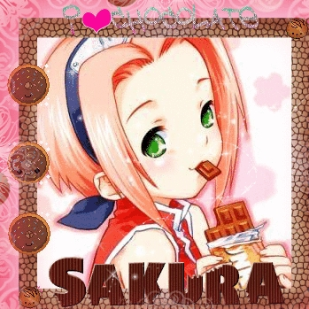 This is Sakura-chan from Naruto eating chocolate,it's quite cute if I do say so myself!^^