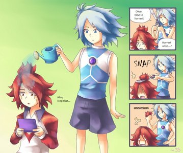 Burn & Gazel from Inazuma Eleven XD oh & if u can't read it it's Burn: Man, stop it... Gazel: Okay, time to harvest! Burn: Harvest what? u can guess what happened after that XD