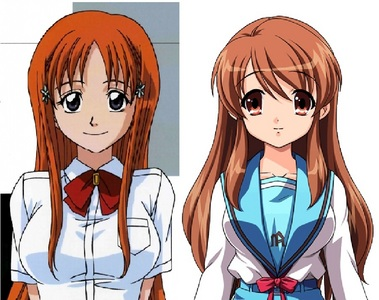 Orihime from Bleach and Mikuru Asahina from Haruhi Suzumiya are played sejak the same voice actress Stephanie Sheh in the dubbs