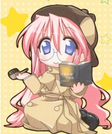 This is a Chibi of Yuki-chan from Lucky Star,but she's wearing a detective outfit!^^