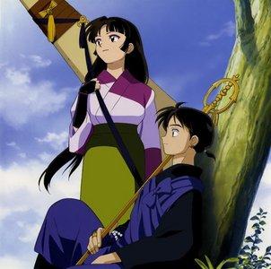 Sango in her dress with Miroku