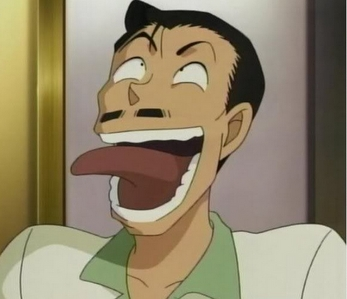 Well Mouri-Kogorou-san can be considered extremely silly at times..well he can be too full of himself at times,he can be rather helpful at times..but when he's out,he's literally out..especially when he's drinking,but on the flip side that's what makes him so lovable and funny!:D