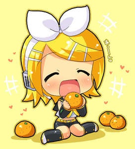 Kagamine Rin and her oranges~! (I wanted to post both Rin and Len together with their character fruits, but I couldn't find a good pic with the two of them so I just telah diposkan Rin.)