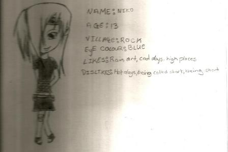 Name: Niko Abilities: can blow up her clay art, Age: 13 Personality: Nice to some people but has a attitude Race: Ninja Relatives: Deidara (older brother) History: Deidara left the village without saying anything. She still looks up to Deidara but everyone hates him now and want to kill him bur she doesn't Sidekick: not really but she has her team with Miki and Aoi Hair colour: Blond eye colour: blue Clothes:Dark Purple चोटी, शीर्ष या Black. with a black short स्कर्ट (like on the picture) If there's anything else just ask
