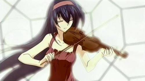 Chikane from Kannazuki no Miko can play violin. :)
