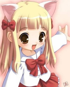 How about her! she has cat ears and pretty cute as well!^^..but I'm not exactly sure if she's from a specific anime.
