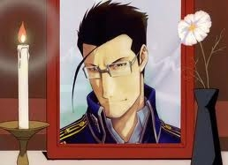 Lieutenant Colonel Hughes from FMA most definitely,the way he went was horrifying to watch,especially very a loving,funny and good tempered man,the way he loved his family was just amazing and how always used to ipakita off pictures of his daughter Elecia and even his wife Gracia..It was just so sad to see such a good guy go so badly!T.T