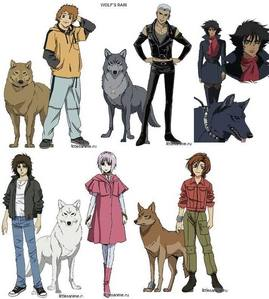 i would say the 5 mga lobo from wolf's rain, kiba, stume, toboe, hige, and blue. also cheza the bulaklak maiden