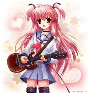 yui from angle beats. but then i cryed when ever one elts died so..... and then again they are already dead.