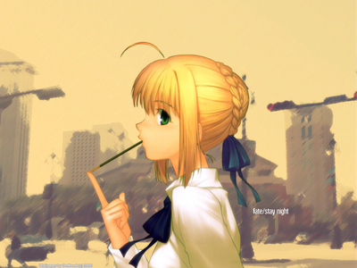 Saber from Fate/ Stay Night! (blond hair and green eyes) I hope it counts... ^_^