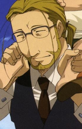 How about অগ্রদূত Hohenheim from Fullmetal Alchemist! he has blonde hair!^^