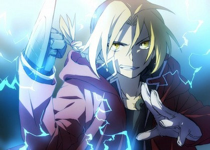 Edward elric using alchemy to transmute his arm into a sword. ;D