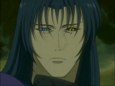 i would say Darcia from wolf's rain he has one yellow eye does that count.