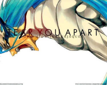 Grimmjow from Bleach, can transform into a feline-like creature and he gains extreme power and speed. ^^ Pic: Transformed mode.