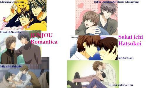Absolutely Junjou Romantica and Sekai ichi Hatsukoi! *.*  After there are: -Maiden Rose -Loveless -Ikoku Irokoi Romantan -Seito Kaichou ni Chuukoku -Okane ga nai -Koisuru Boukun -Ai no kusabi