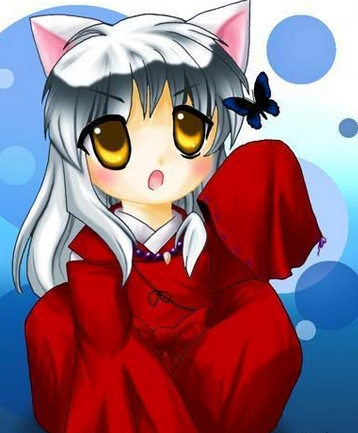 Hmm..Alright,how about Inuyasha from the anime Inuyasha! his hair is kind of in the midst between White/Silver!X3