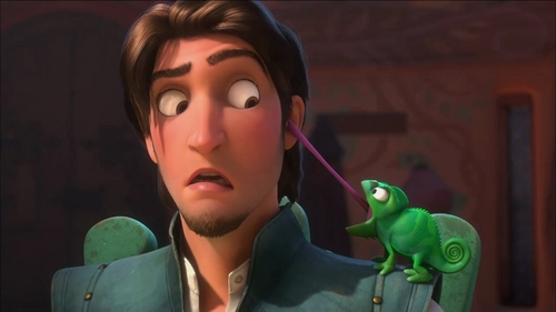 I know I posted this one in the other post but this my first favorito funny scene! I amor it when Pascal sticks his tounge in Flynn (Eugene)ear and his reaction afterwords! I also amor the ones Rapunzel knocks him side of head with frying pan!