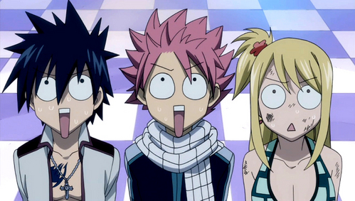 Gray, Natsu, and Lucy from Fairy Tail! xD