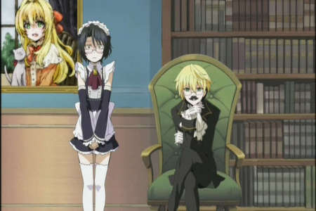 In the first pandora hearts Omake, bumbling detective break, Gil is a girl maid and oz is misinturping his age. XD!!!!!!!!