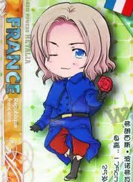 France! He's holding a Rose. awwwww ~ he so cut... WHAT AM I SAYING *slaps* Ill be back once I come to my senses. (if France reads this Im dead)!