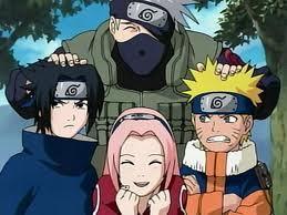 TEAM 7 FROM NARUTO  (Kakashi-sensei, Sasuke, Sakura, Naruto and sai (who is not in the pic and is not originally from team 7 but when sasuke disapeared he joined the team)