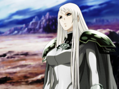 Galatea-chan from Claymore.She is the third strongest warrior generation Clare.Ela the main character is beautiful, a little (okay, not just a little) mixed up, Youki control of his opponents and is very intelligent too.SHE IS PERFECT!