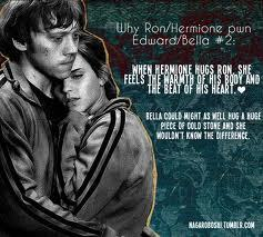 Ron and Hermione. Not to offend any Twilight شائقین but... this pic is kinda true. I mean, Edward/Bella is sweet, but I'm a Romione fan. No offense intended...