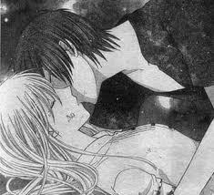 lets start from the begging first they do not kiss in the anima they kiss in the manga and it depends on whta kind of kiss you are talking about(because they kiss two times) the first kiss is in volume 21 when tohru falls off a cliff whitch is kind of a sappy kiss, the second kiss is so so so romantic and awsome it is in volume 22 and this is when kyo confesses his feelings for her whitch i love