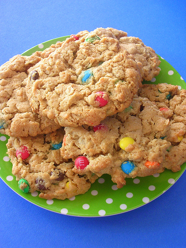 I love Peanut butter Oatmeal M&M cookies!