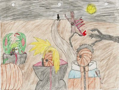 Hm...This is the scariest one I drew ^-^ (the scanner killed the colours... :/ ) Tobi is dressing as pre-shippuden Naruto, while Deidara is Tobi. Deidara (on the left close-up) decided the scariest possible costume he could choose would be Tobi... and Tobi (on the right) decided to dress as Naruto to annoy Deidara. :3 For full size view on my deviant account ^^ : http://xroxy101x.deviantart.com/#/d4nsyqh