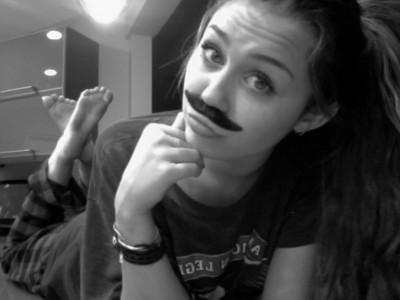 Miley in Mustache.