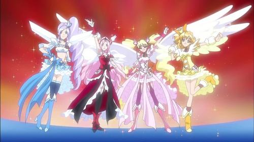 Fresh Pretty Cure. See that? The Anime is nothing but Mary Sues preaching about friendship and happiness while they use their ultimate super duper incredibly awesome undefeatable powers to kill soda machines and radios gone bad. *Fluttershy voice* Yay.