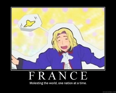 I guess France from Hetalia. He's an extreme pervert, he's just seems way too sexual, everyone seems to hate him! (Well, some people.) He's not my fave character but he does seem pretty attractive to me. But I did realize that so many Hetalia fangirls hate him for some reason. (Because they think he's a manwhore, which he's not.)