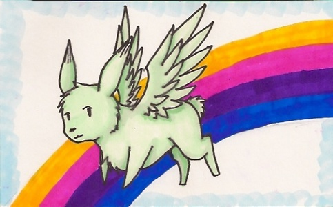 A Gilbird. atau a Flying Mint Bunny. No, make that ESPECIALLY a Flying Mint Bunny. :3