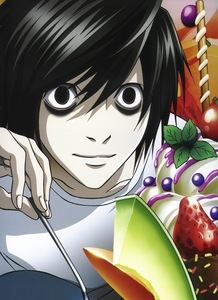 l from Death Note and his huge ice cream sundae.. X3
