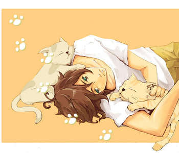 Greece from Hetalia.:L  I think him,Sebastian,and Alphonse would get along quite well.. Cat trio~!