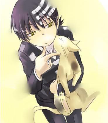 death the kid holdin a kitty :3